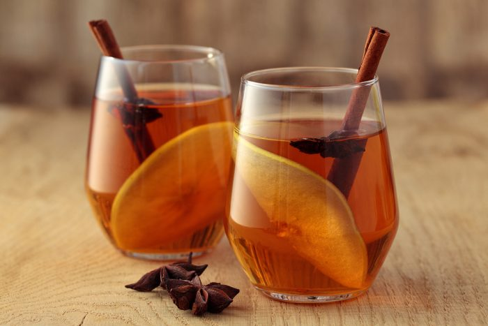 two glasses of mulled cider