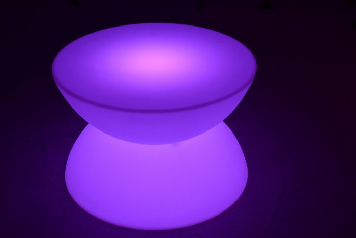 LED light up coffee table in purple