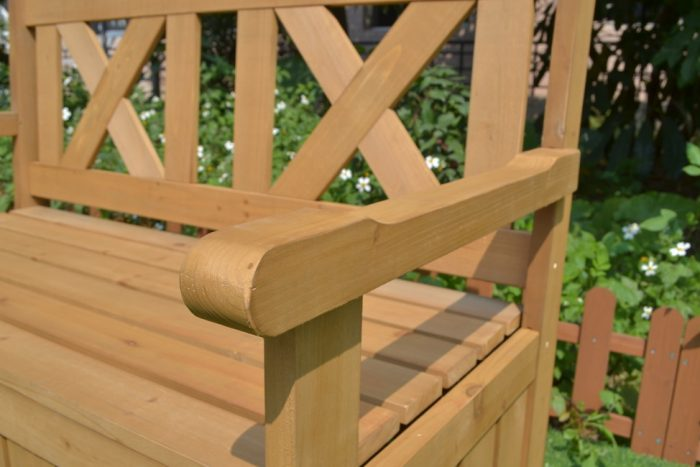 close up of garden bench