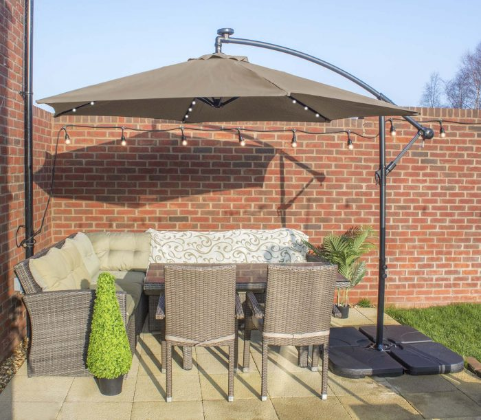 Parasol over seating area